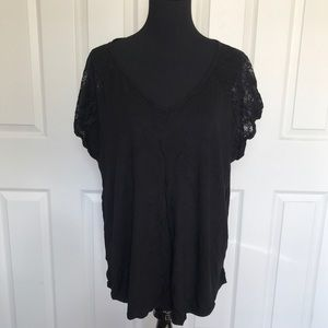ASOS CURVE  NEW LOOK Black Top with Lace Shoulders